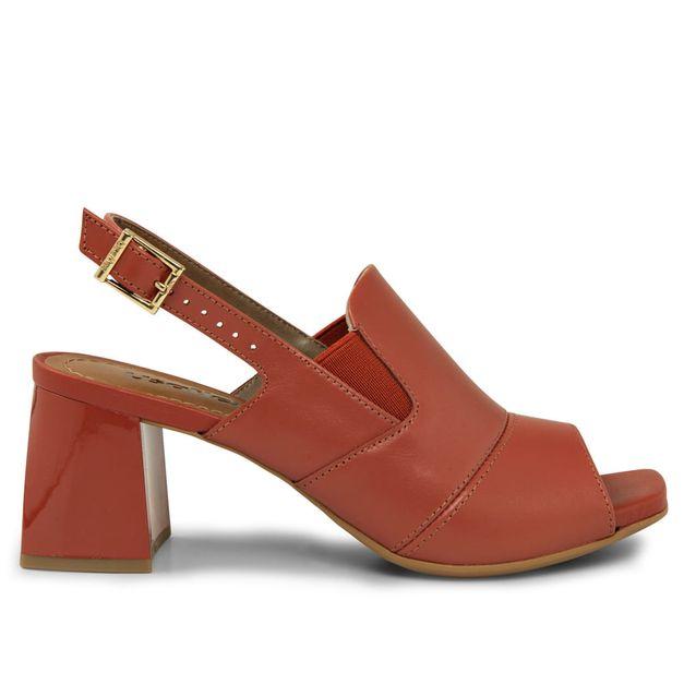 Sandália vermelho urucum salto pintado 33