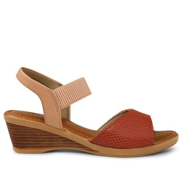 Sandália escamado vermelho com rosa 34