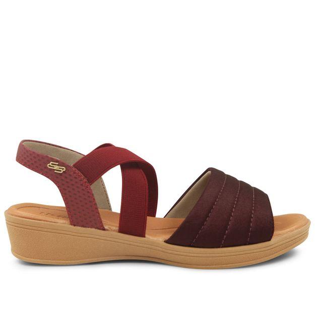 Sandália lisa vermelho ameixa com rebu 33