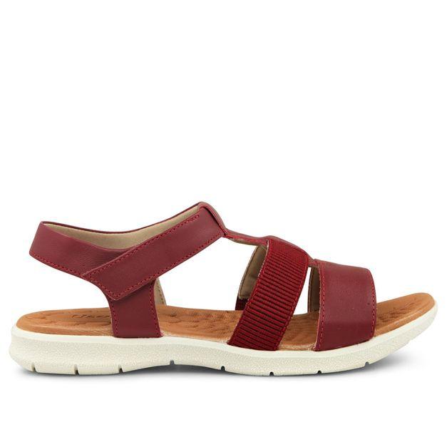 Sandália vermelho rebu tiras com velcro 33