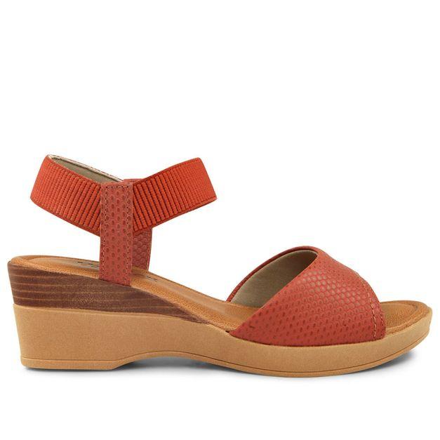 Sandália tiras vermelho urucum 33