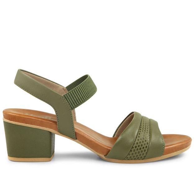 Sandália esmacado verde salto médio 33