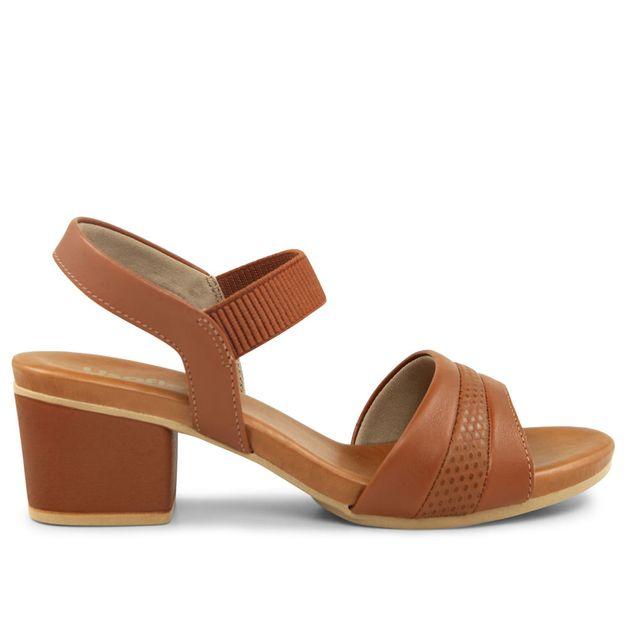 Sandália escamado marrom salto médio 34