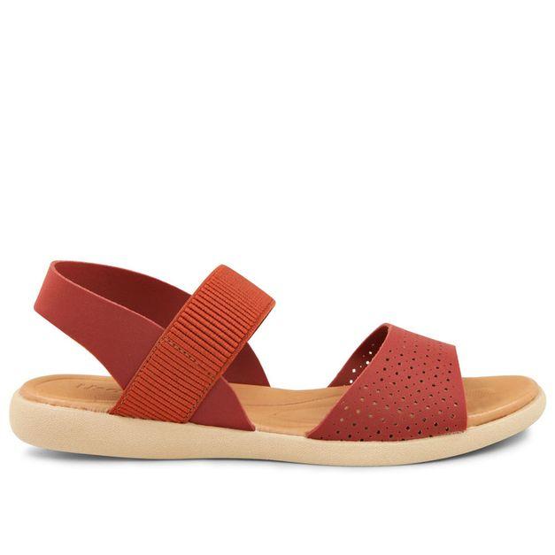 Sandália vermelho urucum com elástico e elastano 33