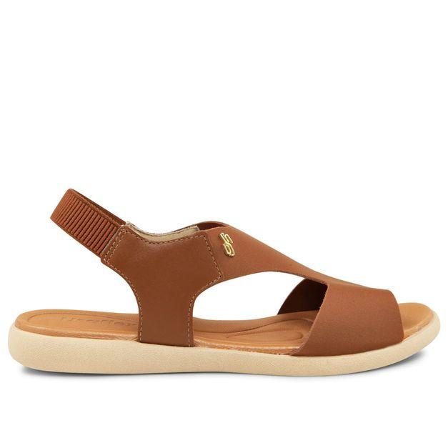 Sandália marrom canela em elastano e couro 33