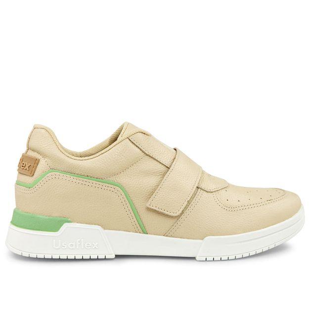 Sneaker bege vanilla e menta com velcro 33